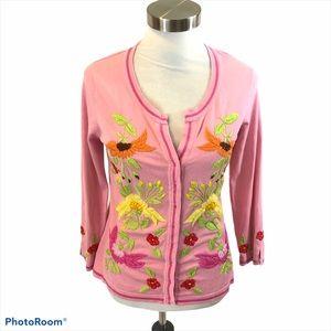 Charlotte Tarentola Pink Silk Blend Cardigan Large